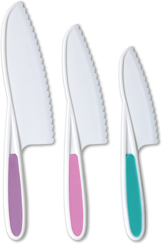 Tovla & Co. Knives for Kids 3-Piece Nylon Kitchen Baking Knife Set: Children's Cooking Knives in 3 Sizes & Colors/Firm Grip