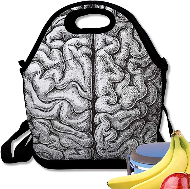 Insulated Neoprene Lunch Bag Anatomy Human Brain Vintage From Meyers Konvers Lexikon Reusable Soft Lunch Tote For Work And School