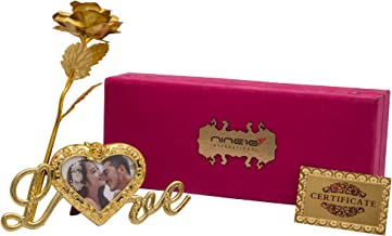 NINE10 Gold Rose 24K Gold Foil/Gold Plated Rose with Exclusive Velvet Gift Box and Heart Shape Photo Frame Stand