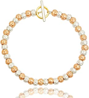 Braccialetto da donna con granelli pepite martellate bicolore argento/placcato oro rosa chiusura anello brisè placcato oro...
