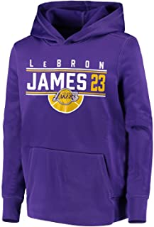 OuterStuff Youth Lebron James Los Angeles Lakers #23 The Line Performance Pullover Hoodie Purple (Youth Small 8)