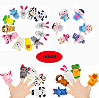 18 Pack Finger Puppets Set ,Plush Soft 12 Animals + 6 People Family Finger Puppets for Kids Toddlers Baby Story Time Playtime School Gift