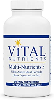 Vital Nutrients - Multi-Nutrients 5 - Ultra Antioxidant Formula (Boron, Copper, and Iron Free) - Ultra Antioxidant Daily Multi-Vitamin/Mineral Formula - 120 Vegetarian Capsules per Bottle