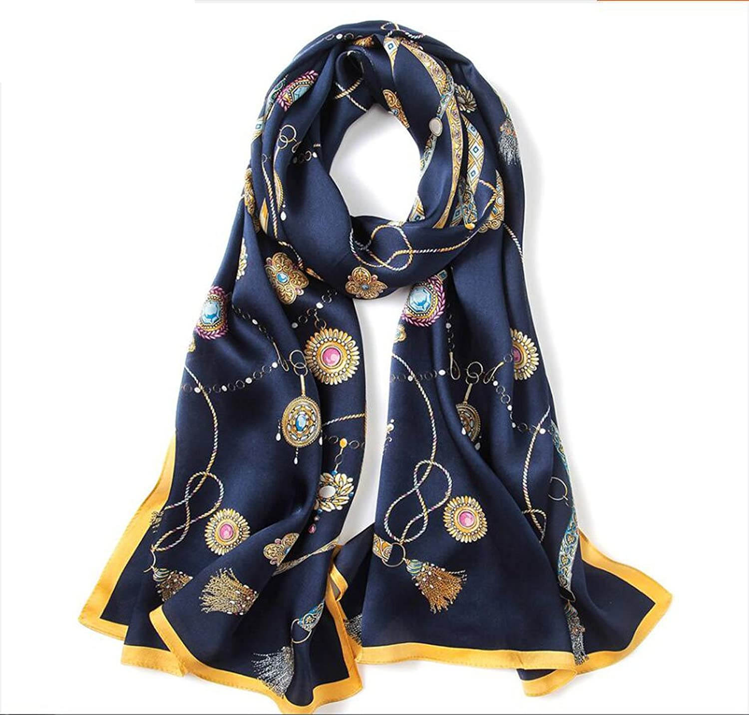 JUN Silk Scarf Printing Embroidery Embroidered Silk Scarf Women 100% Silk Four Seasons Long Style Wild Sunscreen Shawls Beach Towels (Length  170  53cm, Packing of 1) (color   E)