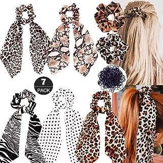 ZOEAST(TM) 7pcs Leopard Print Big Long Scarf Scrunchie Zebra StripePolka Dot Snake Skin Animal PonytailHair Ties Ribbon Chiffon Strong Elastic Hair Band Scarves for Women Girls (7 Pack Scrunchies)