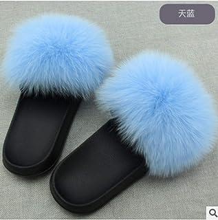 d078f7cae27 Fox Hair Slippers Women Fur Home Fluffy Sliders Plush Furry Summer Flats  Sweet Ladies Shoes Large