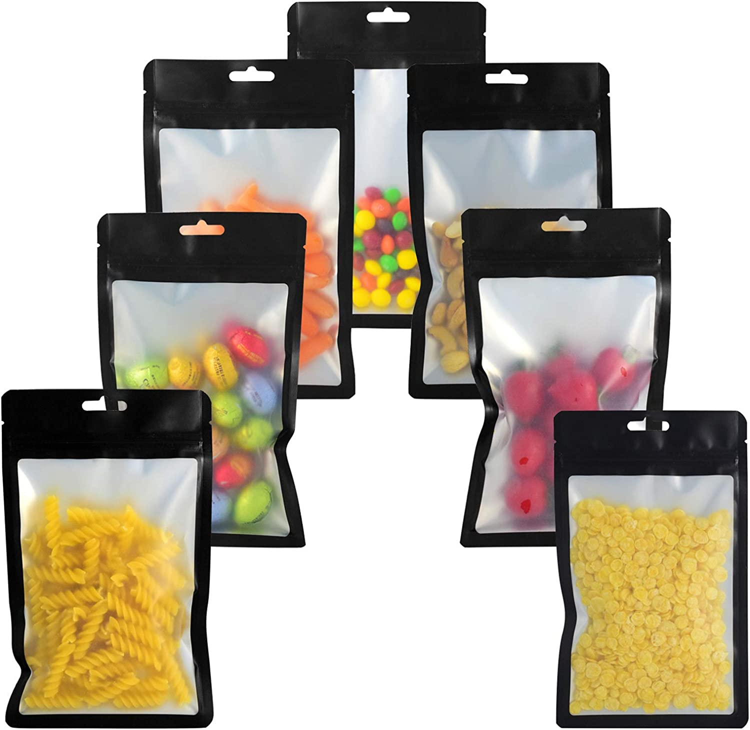 100 Pieces Resealable Mylar Bags Smell Proof Ziplock Bag for Food Storage, Multipurpose Foil Packaging Pouch Bag Reusable (Black Bags with Clear Window, 5