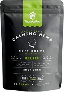 ThunderPup Premium Hemp Soft Dog Chews | Provides Pain & Anxiety Relief from Thunderstorms, Fireworks, Separation | Helps Inflammation of Hips & Joints, Allergies, and Immune System.