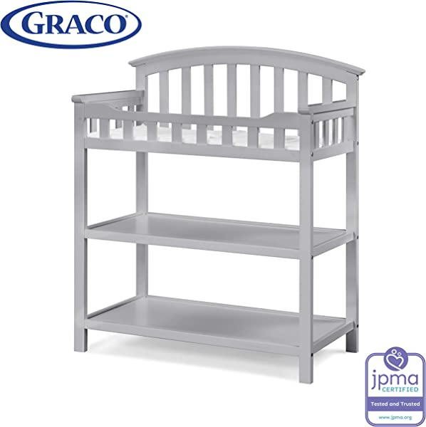 Graco Changing Table With Water Resistant Change Pad And Safety Strap Pebble Gray Multi Storage Nursery Changing Table For Infants Or Babies