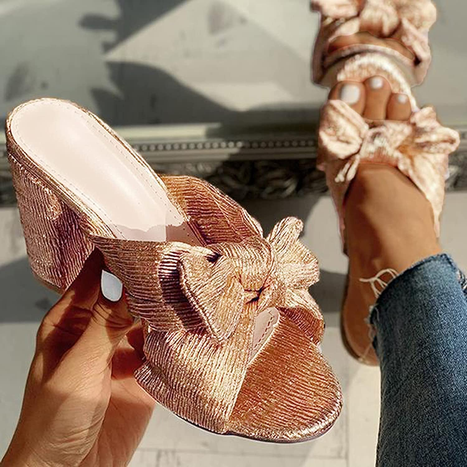 Xudanell Mujer Sandalias Block Heeled Slides Bow Knot Rounded Toe Open Toe Chunky Heels Casual Wedding Sandals for Women