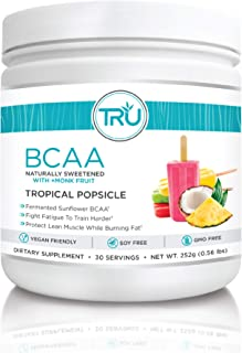 TRU BCAA Powder, Plant Based Branched Chain Amino Acids, Vegan Friendly, Zero Calories, No Artificial Sweeteners or Dyes, Improve Fat Loss (30 Servings, Tropical Popsicle)