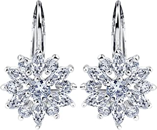 Christmas Snowflake White Gold Plated Earrings Cubic Zirconia Drop Dangle Earring Gift