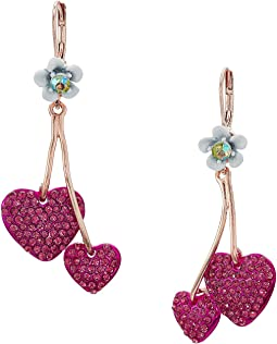 Fuchsia Double Heart Drop Earrings