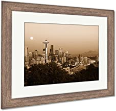 Ashley Framed Prints Seattle Skyline at Dusk, Wall Art Home Decoration, Sepia, 34x40 (Frame Size), Rustic Barn Wood Frame, AG5417041