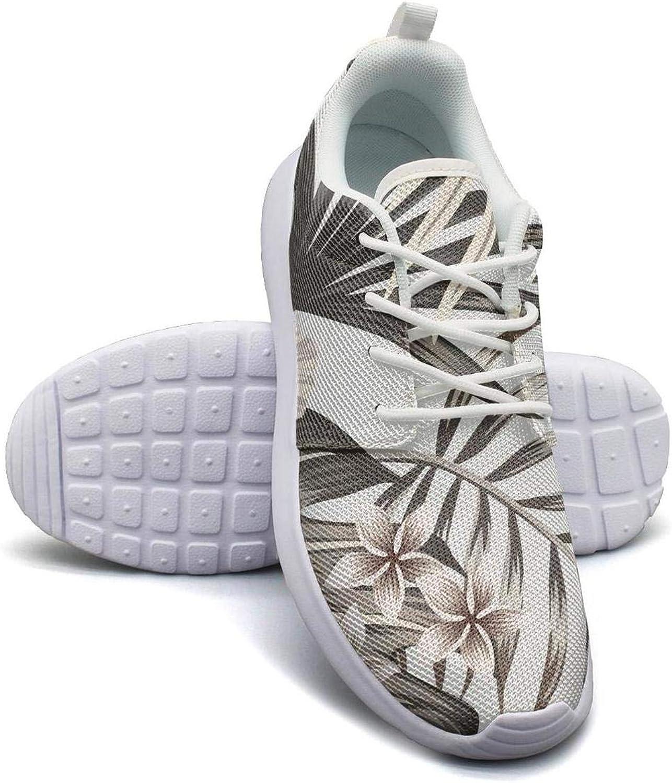 CHALi99 Women Lightweight Mesh shoes Tropical Floral Hawaiian Monstera Sneakers Walking Shock Absorbing
