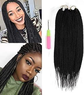 YXCHERISHAIR Crochet Braid Box Braids Natural Black Synthetic Braided Hair Extension for Women Crochet Braids Twist High Temperature Fiber (22 inch,3Packs,#1B)