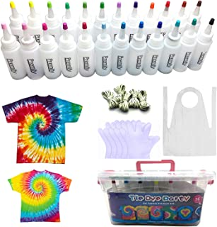 24 Colors Tie Dye Kit, TIE-DYE Textile Colours 60ml Bottles with Table Covers Aprons Gloves Rubber Bands & User Manual, Up...