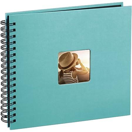 Hama Fine Art - Álbum de fotos, 50 páginas negras (25 hojas) para pegar fotos, álbum con espiral, 36 x 32 cm, con compartimento para insertar foto, turquesa