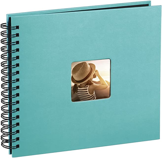 Hama Fine Art - Álbum de fotos 50 páginas negras (25 hojas) para pegar fotos álbum con espiral 36 x 32 cm con compartimento para insertar foto turquesa