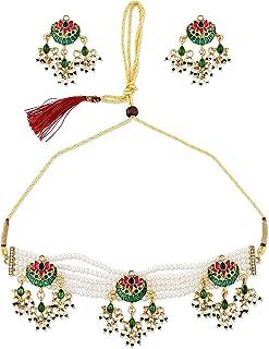 Zaveri Pearls Green & Pink Meenakari Lotus Multistrand Necklace & Earring Set For Women-ZPFK10478