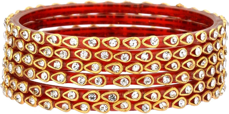 Efulgenz Indian Bollywood Wedding Bridal Gold Rhinestone Crystal Kundan Acrylic Resin Bracelet Bangle Set Jewelry