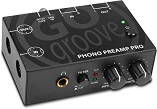 GOgroove Phono Preamp Pro Preamplifier with RCA Input/Output, DIN Connection, RIAA Equalization, 12V AC Adapter - Compatible with Vinyl Record Players, Turntables, Stereos, DJ Mixers