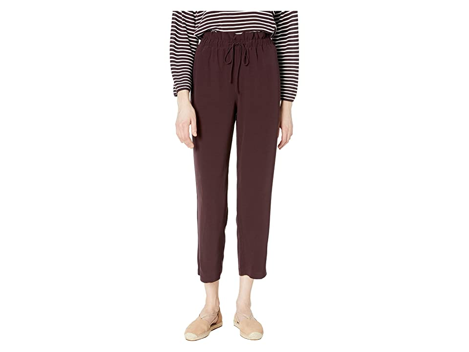 Eileen Fisher Ankle Length Straight Pants w/ Gathered Waist (Cassis) Women