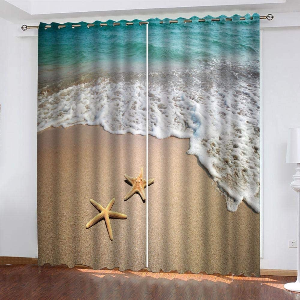Mail order ZJZWLW Blackout Curtain for Bedroom 59X65 Tucson Mall Inch Starfish Sc Beach