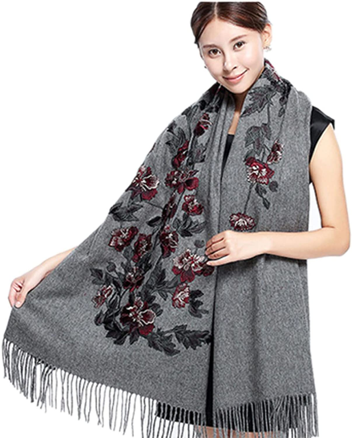 Ink Danqing Highgrade Woolen Thickening Solid color Embroidery Scarves Shawl 70X200CM3 Kinds Of colors,GreyOneSize