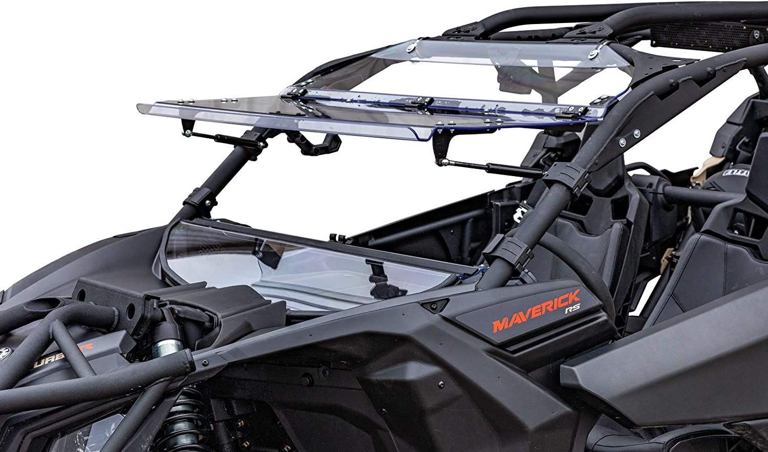 SuperATV Scratch Resistant Flip Windshield for 2018 Can-Am Maverick X3 900   2017+ X3 Turbo/X DS/X RC/X MR/X RS/MAX -See Fitment   1/4