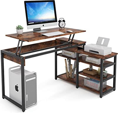 Tribesigns L-Shaped Computer Desk, Industrial Lift Top Desk with 3 Tier Storage Shelves, 52 Inch Height Adjustable Writing Standing Desk Study Table for Home Office, Rustic Brown