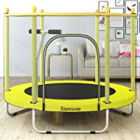 Stansom 5FT Trampoline for Kids w/Safety Handrail, Mini Recreational Trampolines with Transparent Protective Net, Stable...