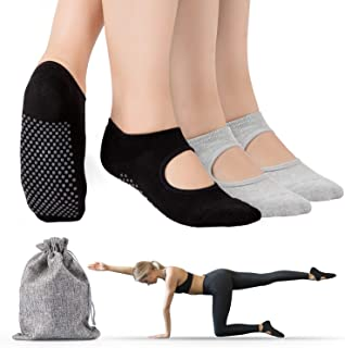 Calcetines Yoga, 2Pcs Y 4Pcs Pilates Calcetines Antideslizantes Mujer Hombre,Yoga, Pilates, Ballet,Fitness Antideslizantes [35-41 EU]