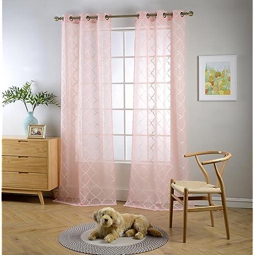 Pink Sheer Curtains Amazon Com