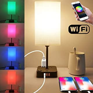 COZOO Wi-Fi Smart RGB & USB Bedside Table Lamp with 3 USB Charging Ports and 2 Outlets Power Strip,Wi-Fi LED Light Bulb Dimmable, Compatible with Alexa and Google Home