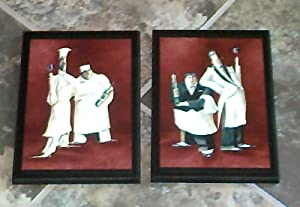 Set of 2 Chef Plaques - French Italian bistro kitchen restaurant chefs waiters wine brick red - wood wooden plaque sign picture wall decor hanging unique unusual gift handcrafted handmade USA America