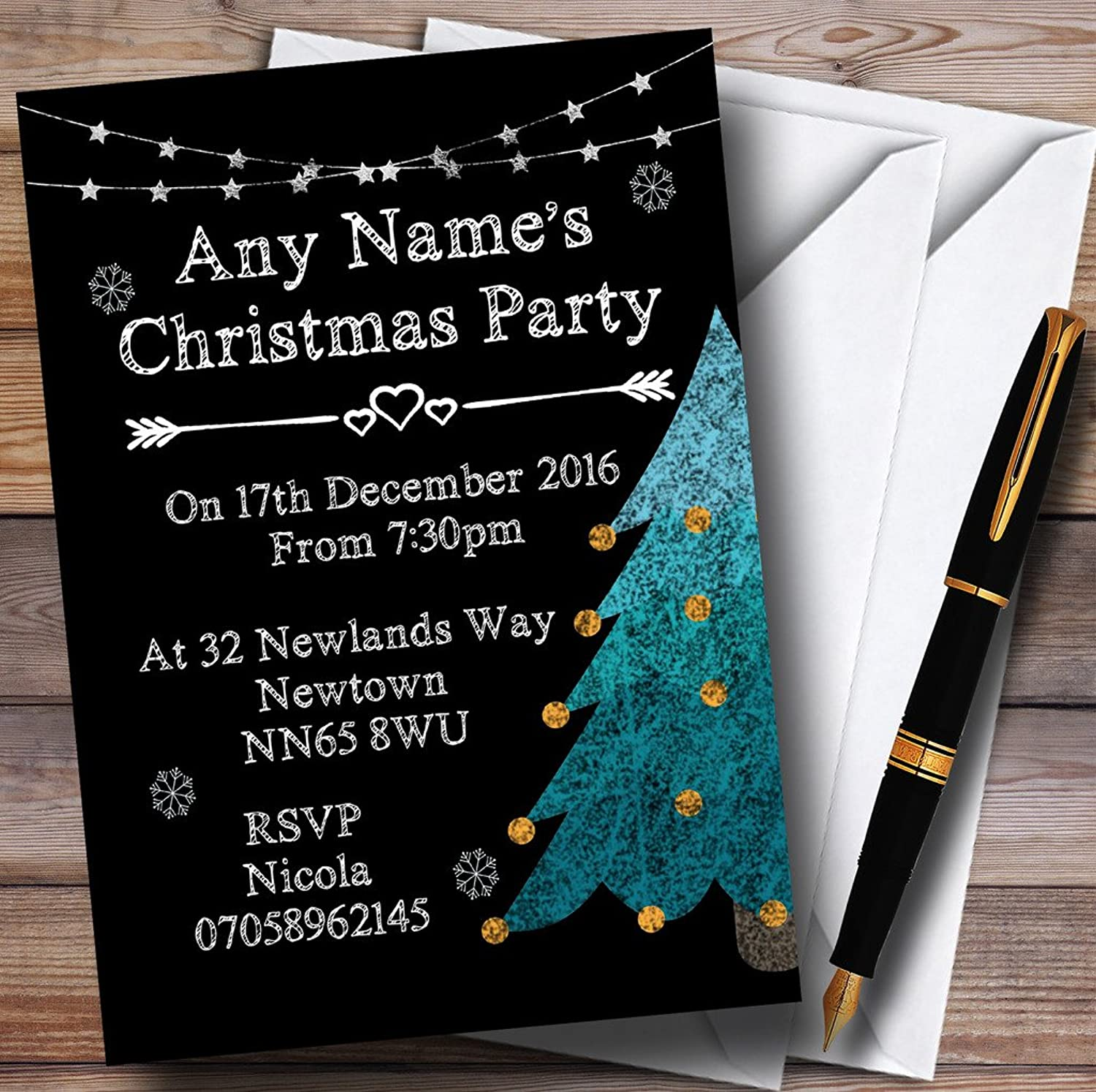 Chalk Style Christmas Tree & Snowflakes Personalised Christmas Party Invitations