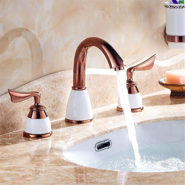 Lvsede Bad Wasserhahn Design Küchenarmatur Niederdruck Dreiteiliges Mischventil Aus Reinem Kupfer In RoséGold