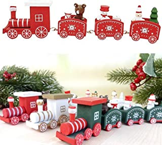 VesipaFly Christmas Toy Train for Decor, Cute Wooden Mini Ornaments Gift Car Set for Christmas Party Kindergarten Window Decoration (Red)
