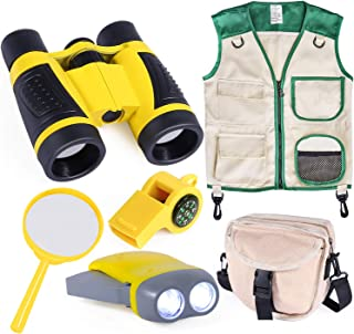 INNOCHEER Outdoor Explorer Kit with Vest & Crossbody Bag, Children Adventure Paleontologist Costume Set with Binocular, Magnifying Glass, Hand-Crank Flashlight,2-in-1 Whistle for Kids Boys Girls 3+