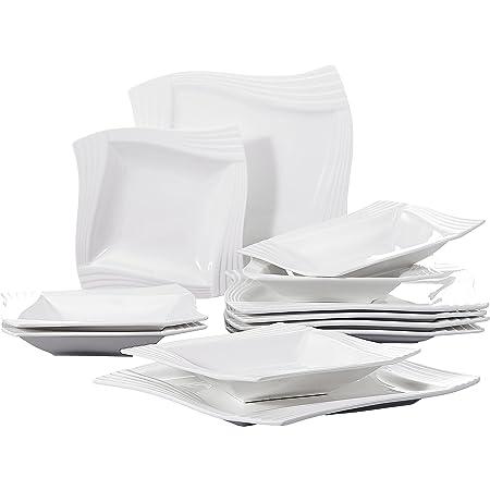 MALACASA, Série Amparo, 12pcs Assiettes Plates Porcelaine, 6 Assiette à Soupe Creuse, 6 Assiettes Plates Vaisselles Plats 6 Personnes