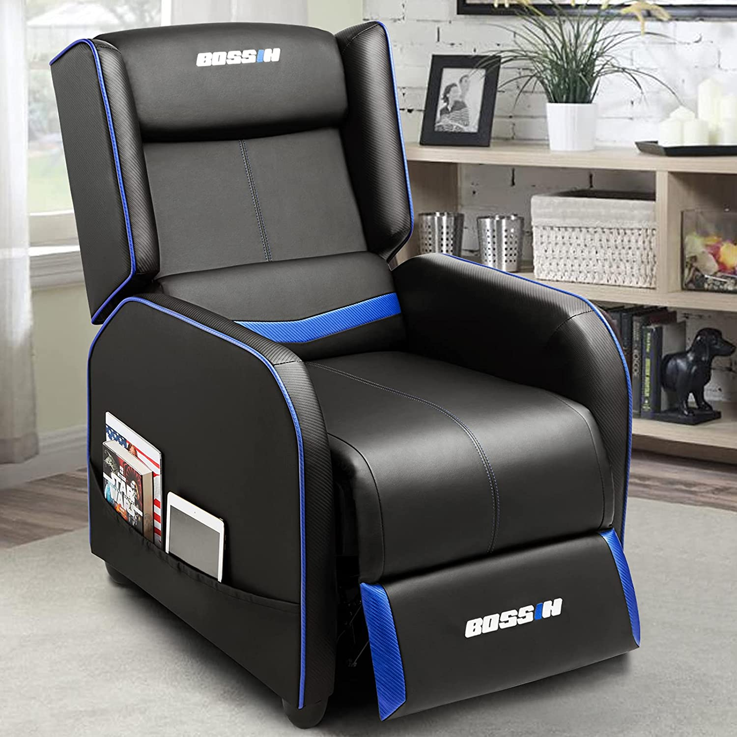 BOSSIN latest Austin Mall Gaming Recliner Chair Single Sofa Rec PU Leather