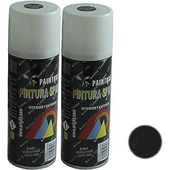 Paintusa - Pack de 2 botes de pintura en spray Negro Satinado SA01 ...