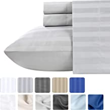 Pure Cotton King Size Sheets - 4 Piece Sateen Weave Bed Set, Light Gray Color Damask Stripe, Long Staple Combed Cotton for Premium Comfort, Deep Pocket Fits Mattress Upto 18 Inches