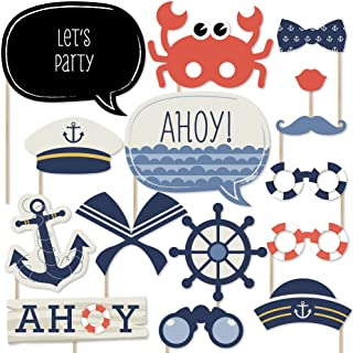 Big Dot of Happiness Ahoy - Nautical - Photo Booth Props Kit - 20 Count
