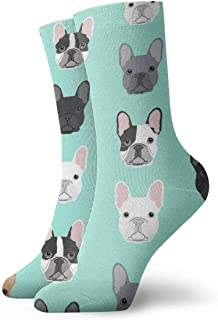 AEMAPE, Bulldog francés Puppy Cushion Crew Calcetines Essential Sport Wicking Work para hombres y mujeres