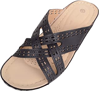 ABSOLUTE FOOTWEAR Womens Slip On Criss Cross Holiday/Summer Wedge Sandals/Mules