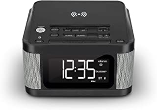 iLive Platinum Bluetooth Alarm Clock Radio with Charging Pad, 6.1 x 6.1 x 3.7 Inches, Includes Fast Charge AC/DC Power Adapter, Black (ICQ988B)