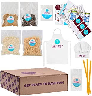 Baketivity Kids Baking DIY Activity Kit - Bake Delicious Healthy Granola Bars with Pre-Measured Ingredients – Best Gift Idea for Boys and Girls Ages 6-12 – Includes Free Hat and Apron