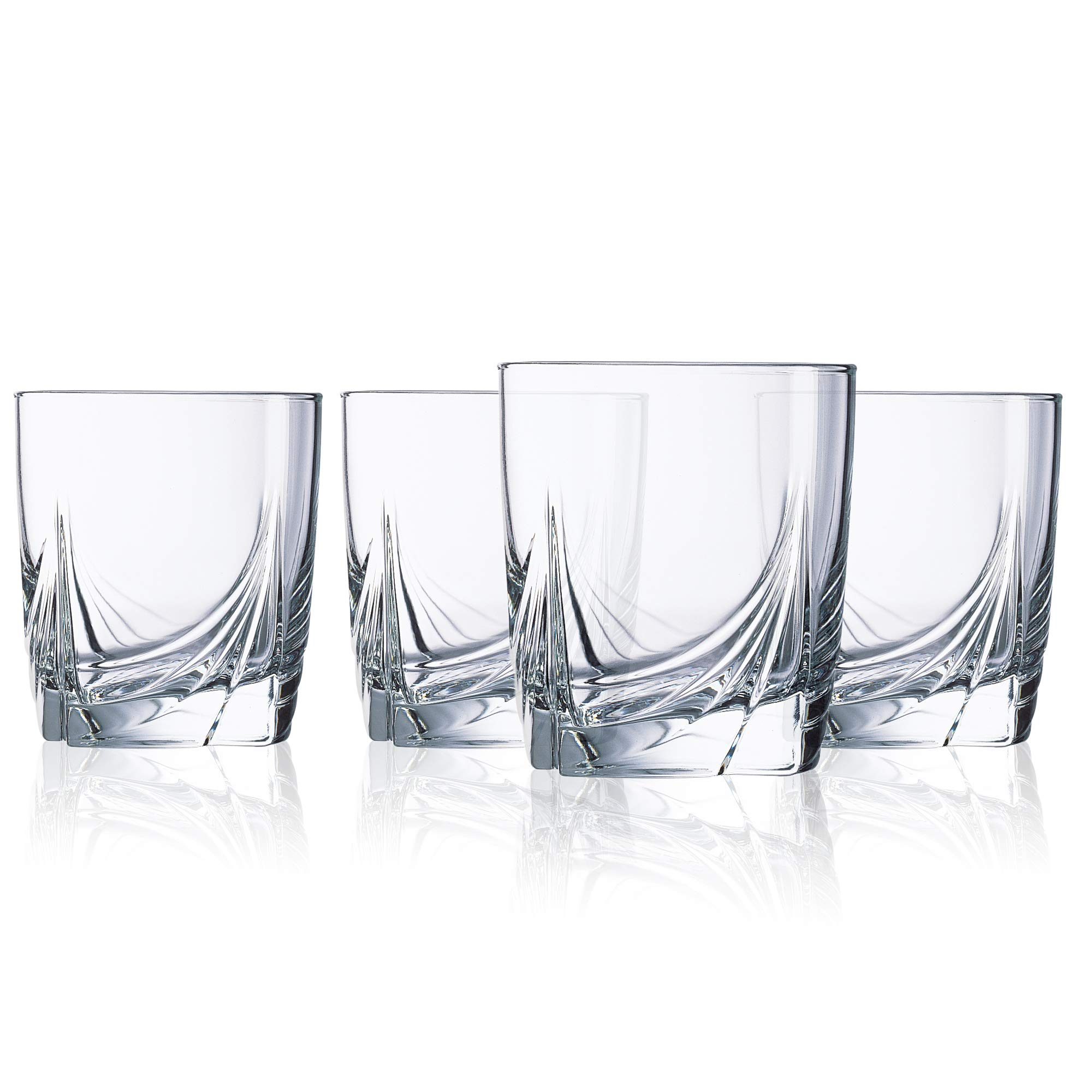 Luminarc Double Old Fashioned Drinking Glasses Parallels Drinkware Short Set of 4 Clear